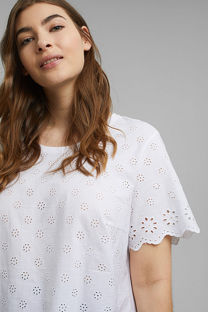 CURVY T-shirt with broderie anglaise, WHITE, detail image number 5