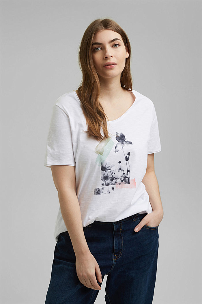 CURVY print T-shirt, 100% organic cotton, WHITE, detail image number 0