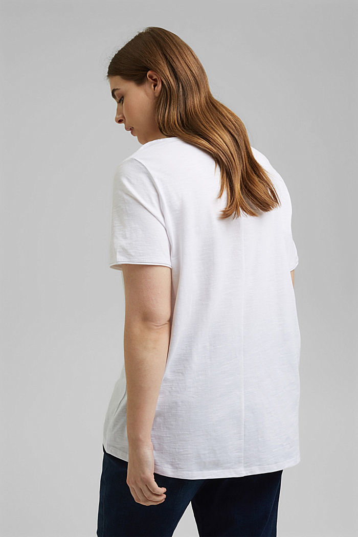 CURVY print T-shirt, 100% organic cotton, WHITE, detail image number 3
