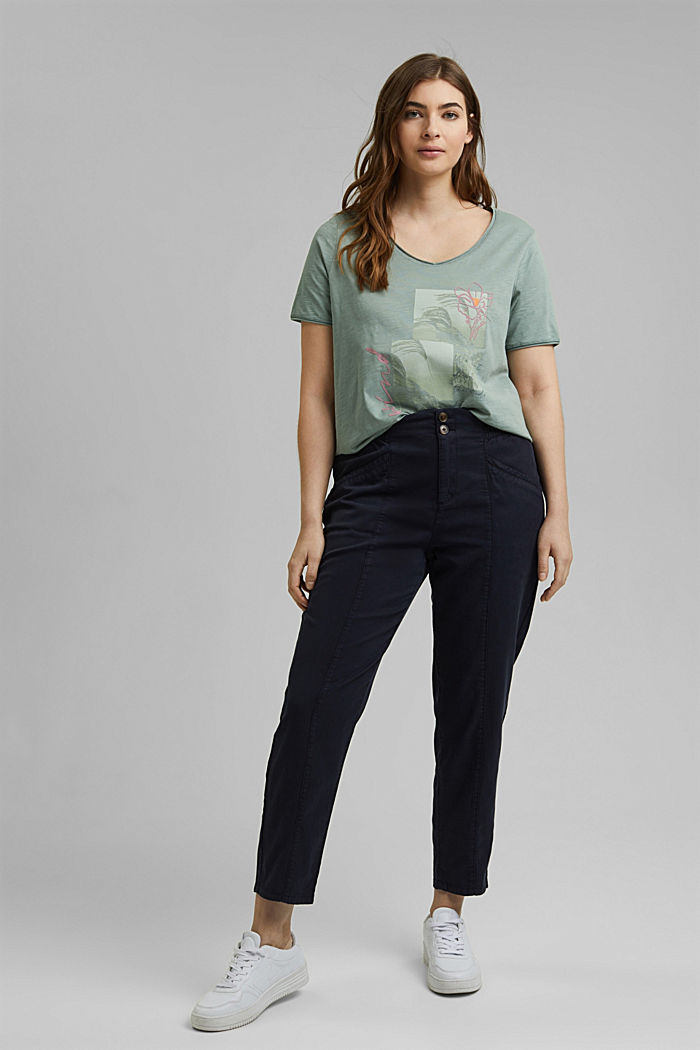 CURVY Print-Shirt, 100% Organic Cotton, TURQUOISE, detail image number 1