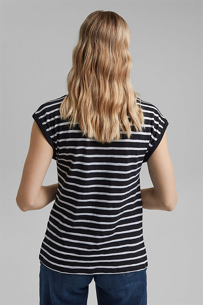 T-shirt rayé en coton biologique imprimé, BLACK, detail image number 3