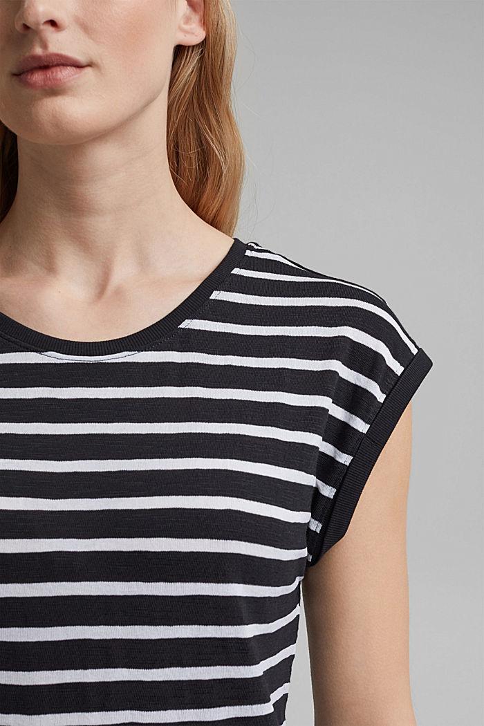 T-shirt rayé en coton biologique imprimé, BLACK, detail image number 2