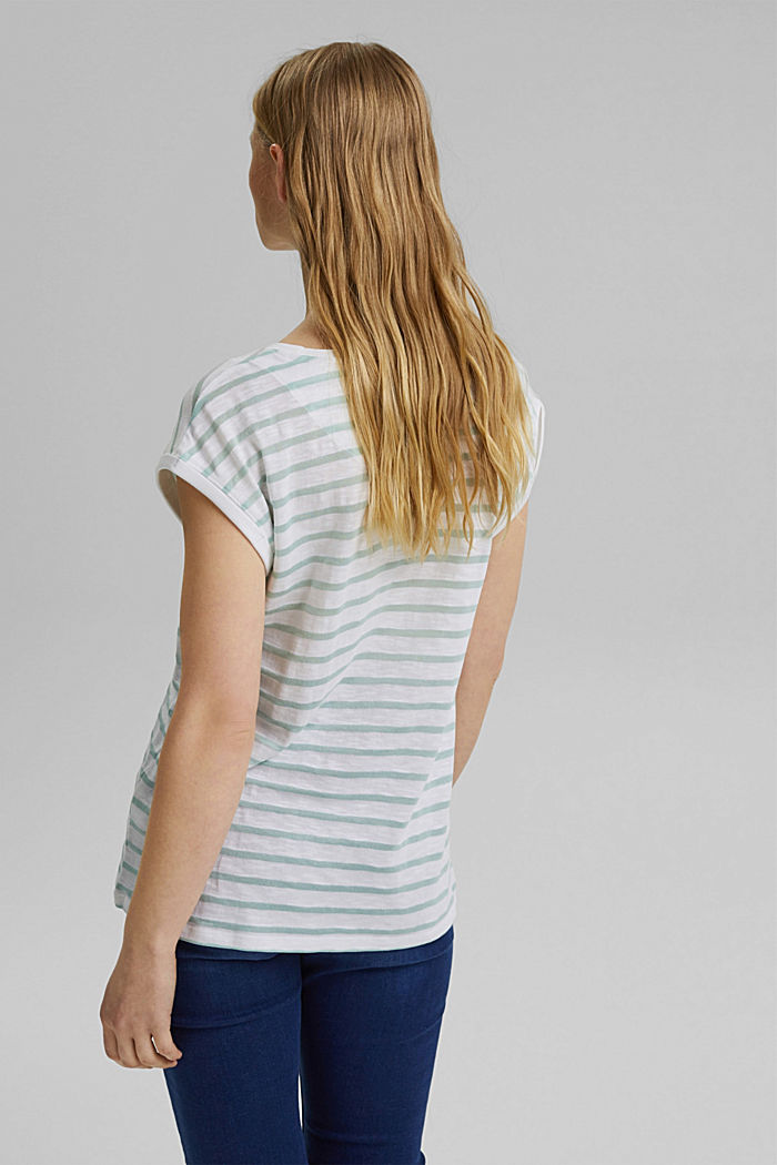 Recycled: T-shirt with stripes, organic cotton, WHITE, detail image number 3