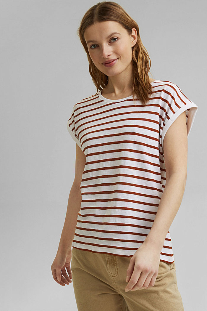 Recycled: T-shirt with stripes, organic cotton, CARAMEL, detail image number 0