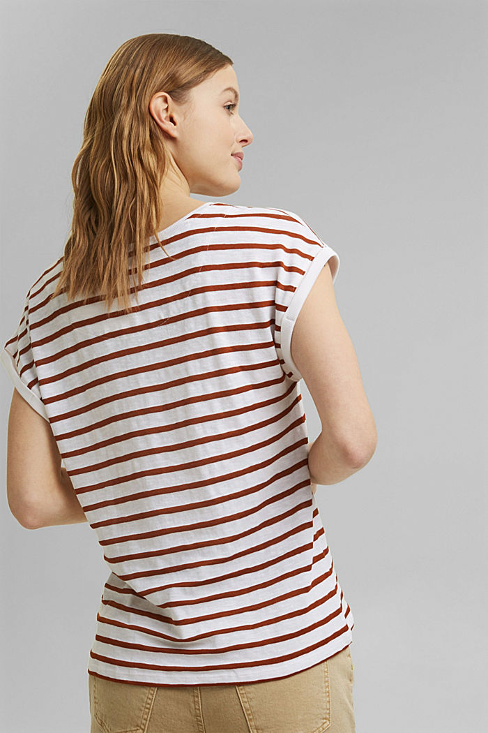 Recycled: T-shirt with stripes, organic cotton, CARAMEL, detail image number 3