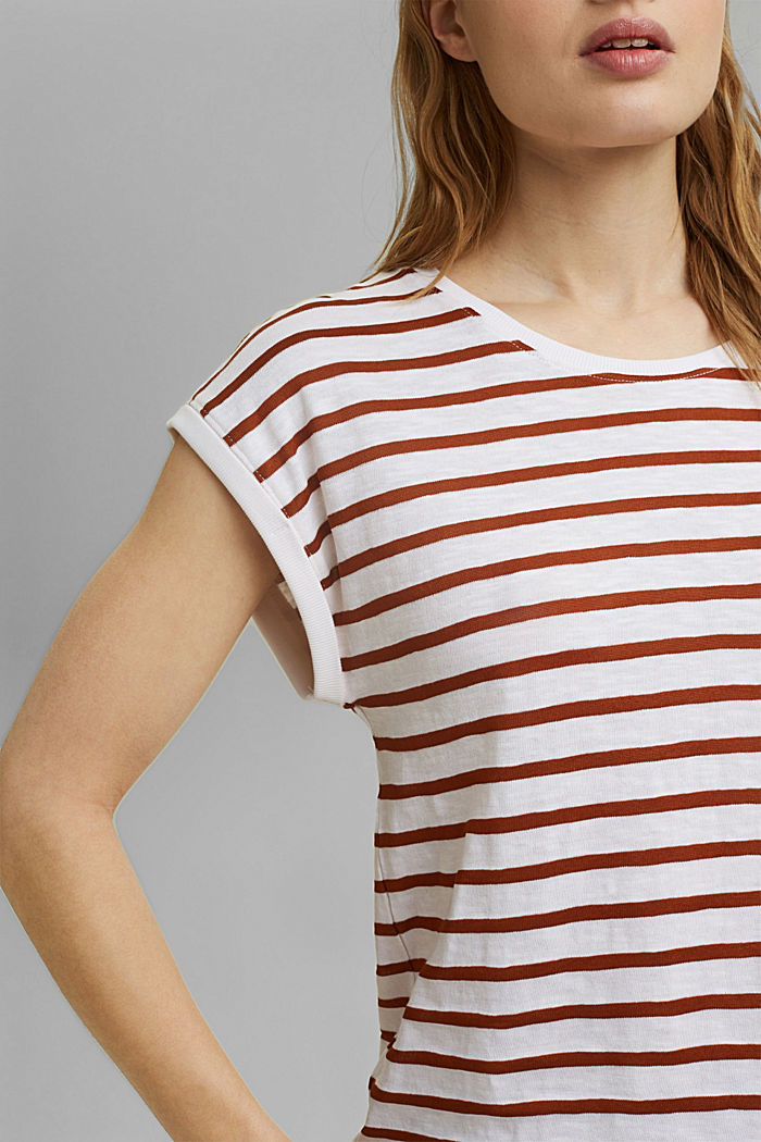 Recycled: T-shirt with stripes, organic cotton, CARAMEL, detail image number 2