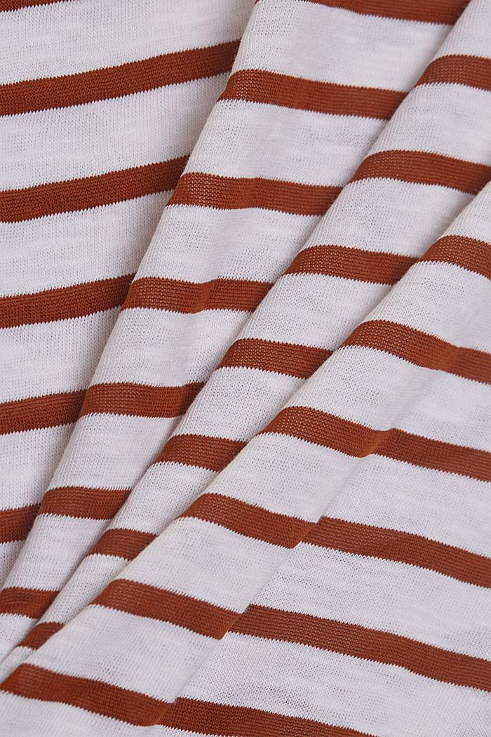 Gestreept shirt van een mix met biologisch katoen, CARAMEL, detail image number 4