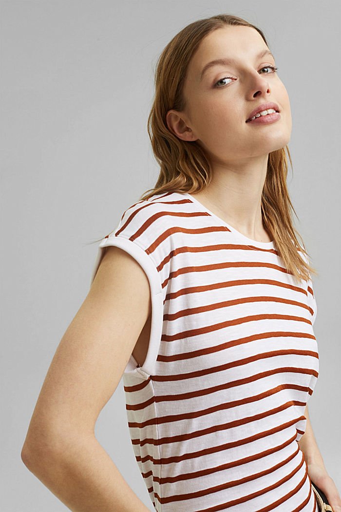 Recycled: T-shirt with stripes, organic cotton, CARAMEL, overview