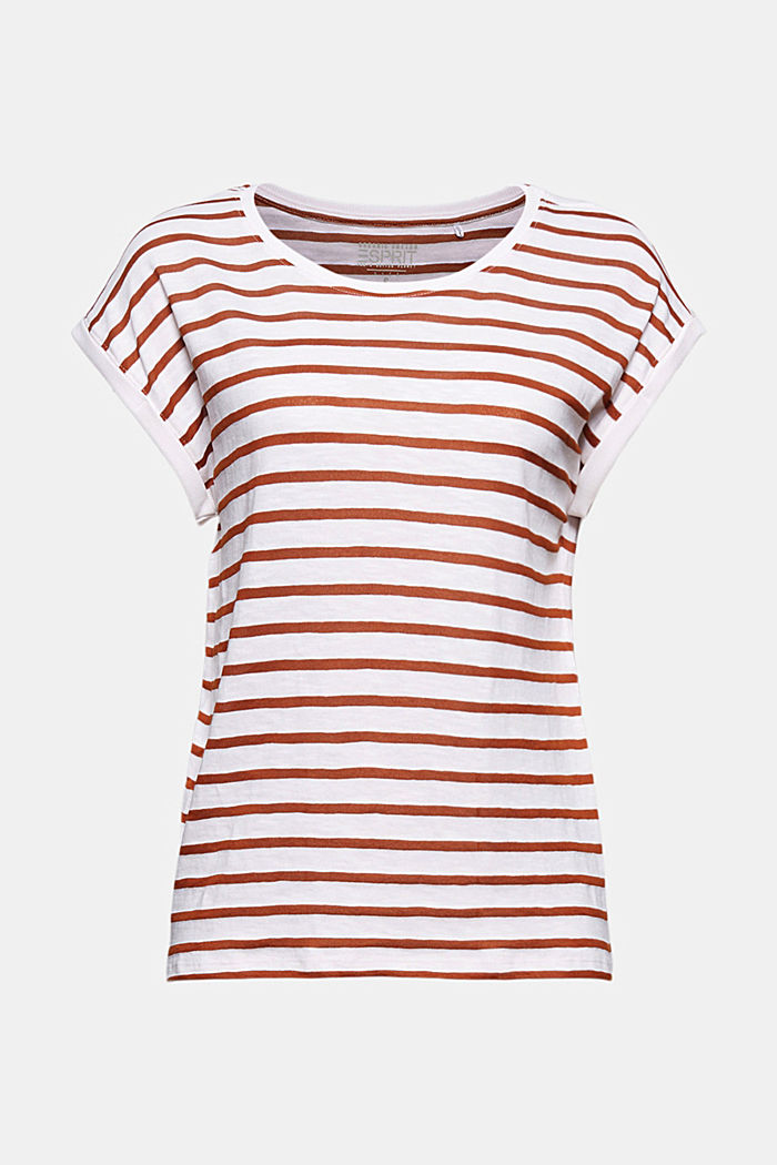 Recycled: T-shirt with stripes, organic cotton, CARAMEL, detail image number 6