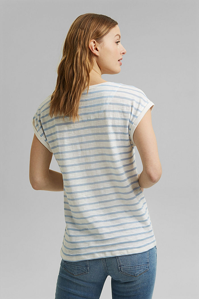 Recycled: T-shirt with stripes, organic cotton, LIGHT BLUE, detail image number 3