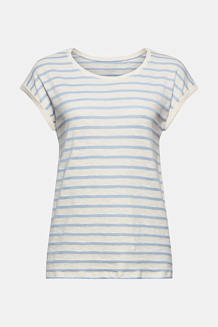 Recycled: T-shirt with stripes, organic cotton, LIGHT BLUE, detail image number 6