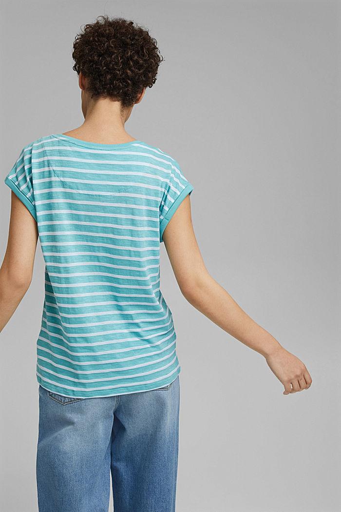 Gestreept shirt van een mix met biologisch katoen, TURQUOISE, detail image number 3