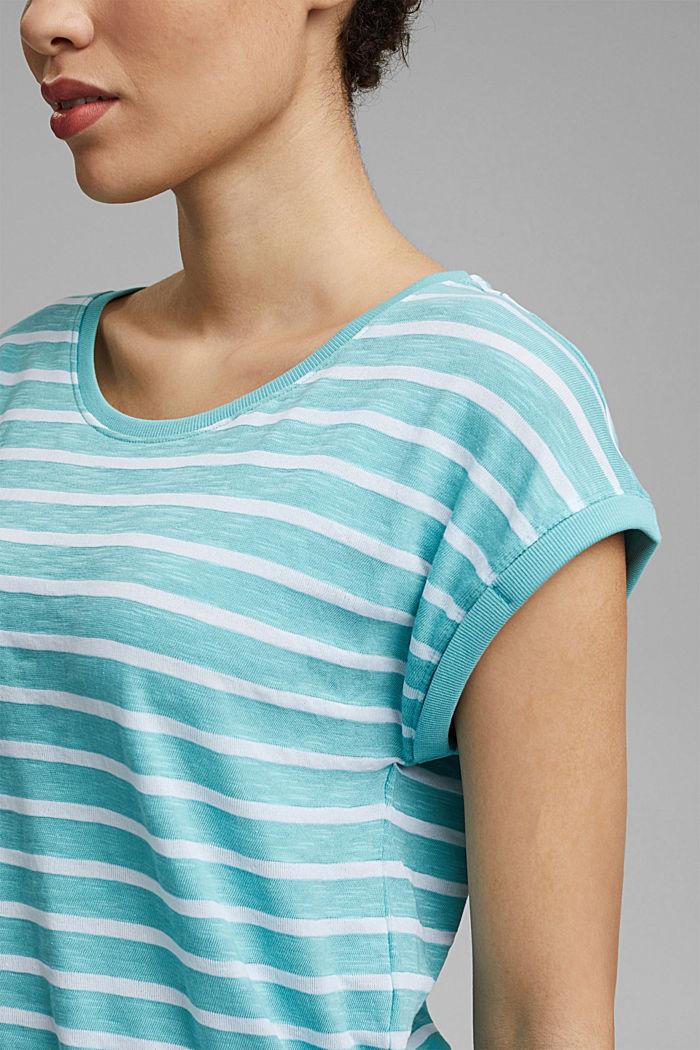Gestreept shirt van een mix met biologisch katoen, TURQUOISE, detail image number 2