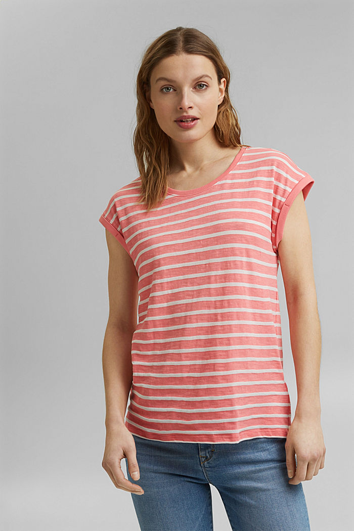 Recycled: T-shirt with stripes, organic cotton, CORAL, overview