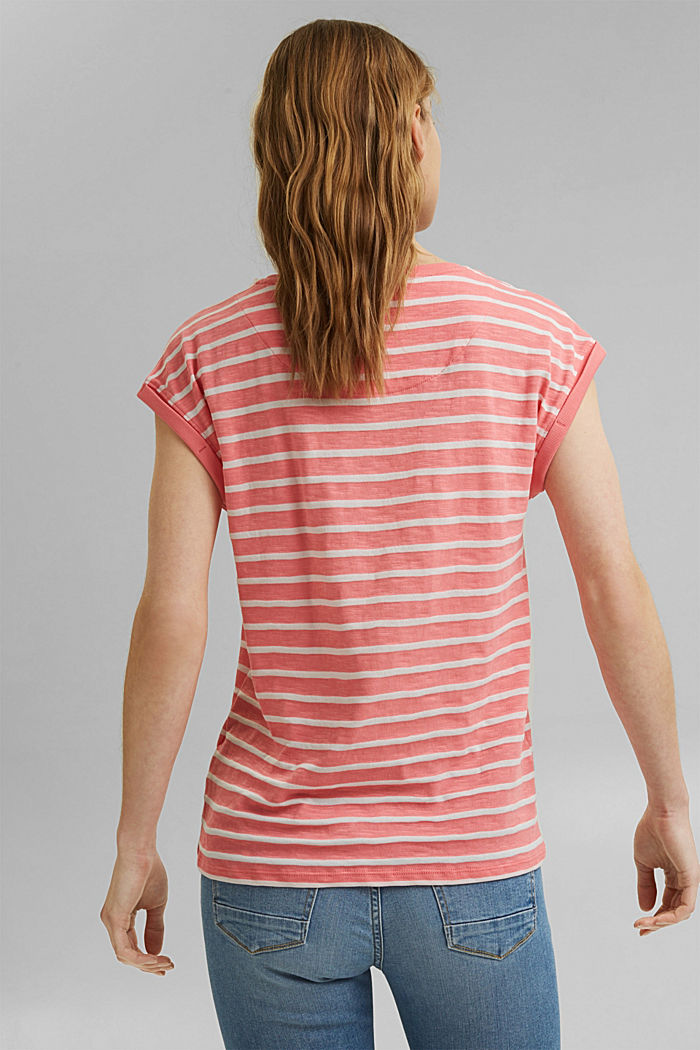 Recycled: T-shirt with stripes, organic cotton, CORAL, detail image number 3