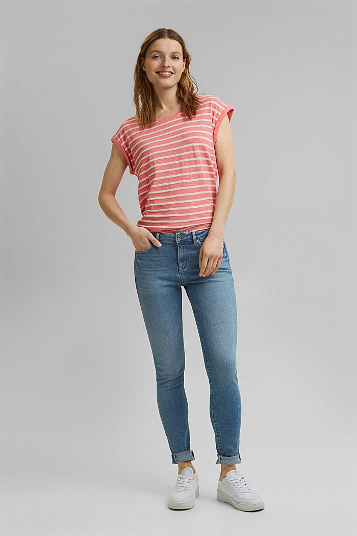 Striped T-shirt made of an organic cotton blend, CORAL, detail image number 1