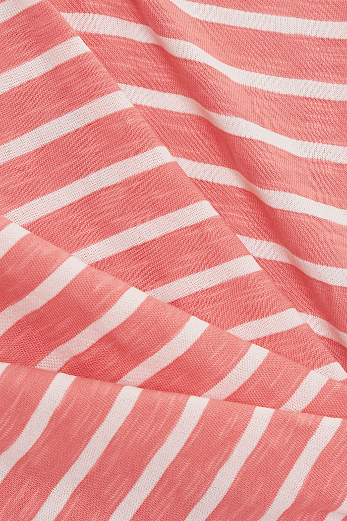 Recycled: T-shirt with stripes, organic cotton, CORAL, detail image number 4