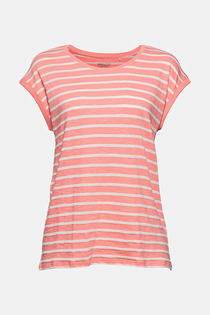 Recycled: T-shirt with stripes, organic cotton, CORAL, detail image number 5