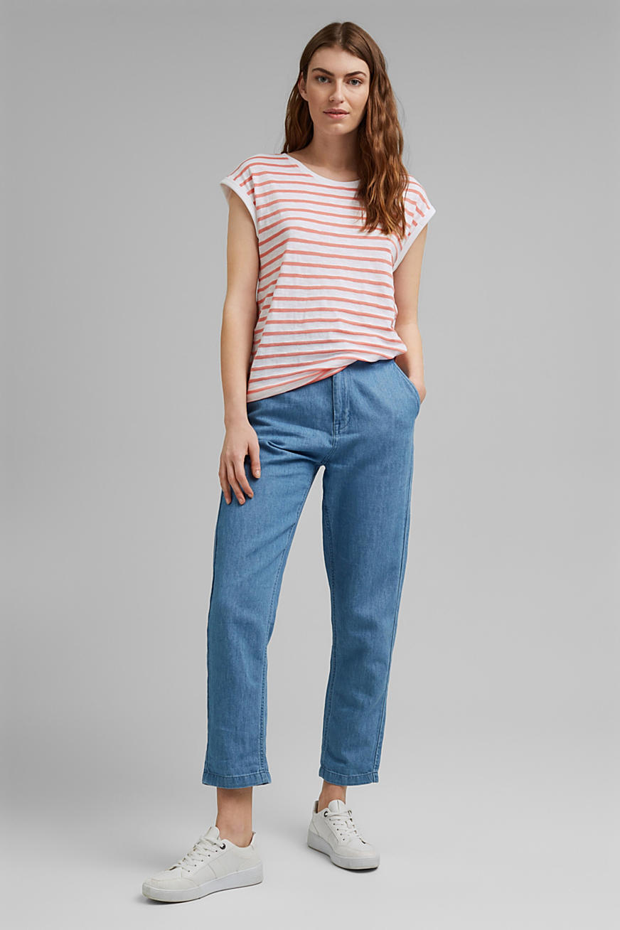 Gerecycled: shirt met strepen, organic cotton
