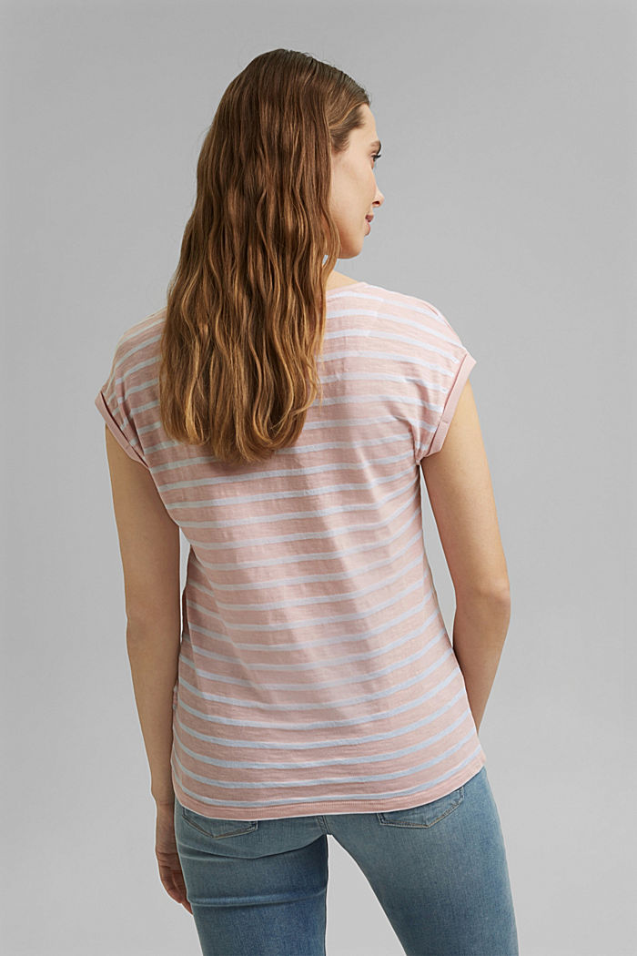 Recycled: T-shirt with stripes, organic cotton, NUDE, detail image number 3