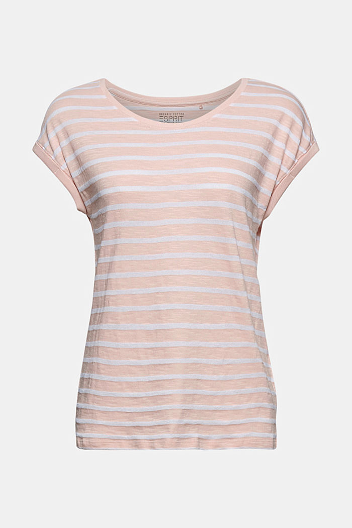 Recycled: T-shirt with stripes, organic cotton, NUDE, overview