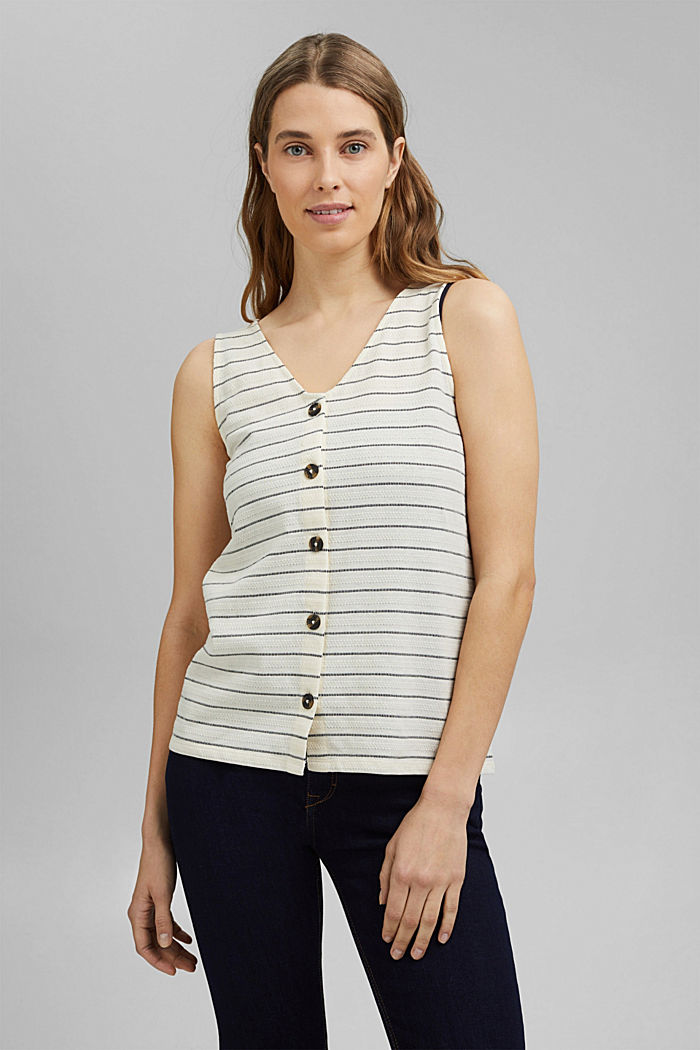 Recycled: striped top with a button placket, ICE, detail image number 0
