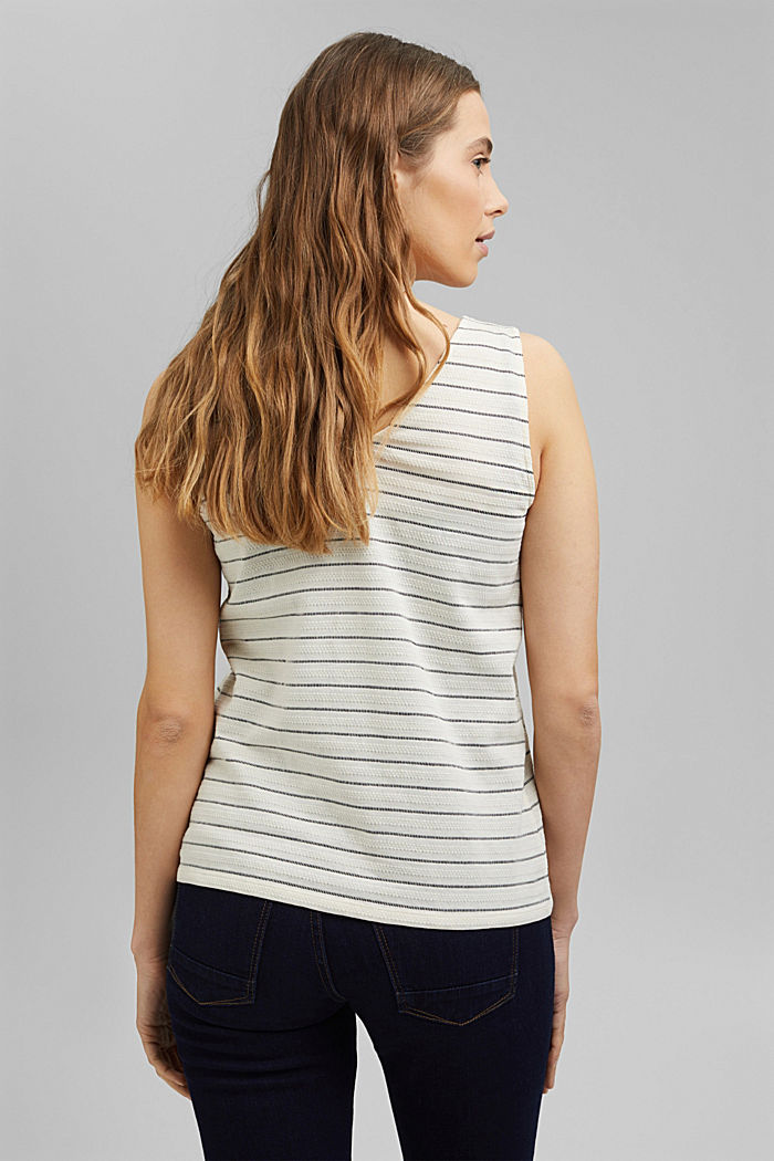 Recycled: striped top with a button placket, ICE, detail image number 3