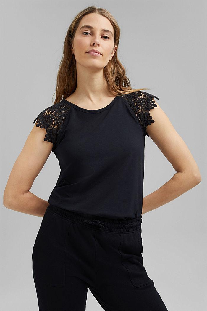 T-Shirt mit Ärmeln aus Häkelspitze, BLACK, detail image number 0