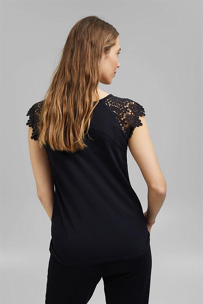 T-Shirt mit Ärmeln aus Häkelspitze, BLACK, detail image number 3
