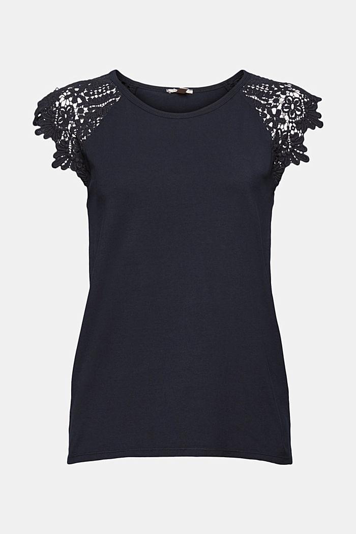 T-Shirt mit Ärmeln aus Häkelspitze, BLACK, detail image number 7