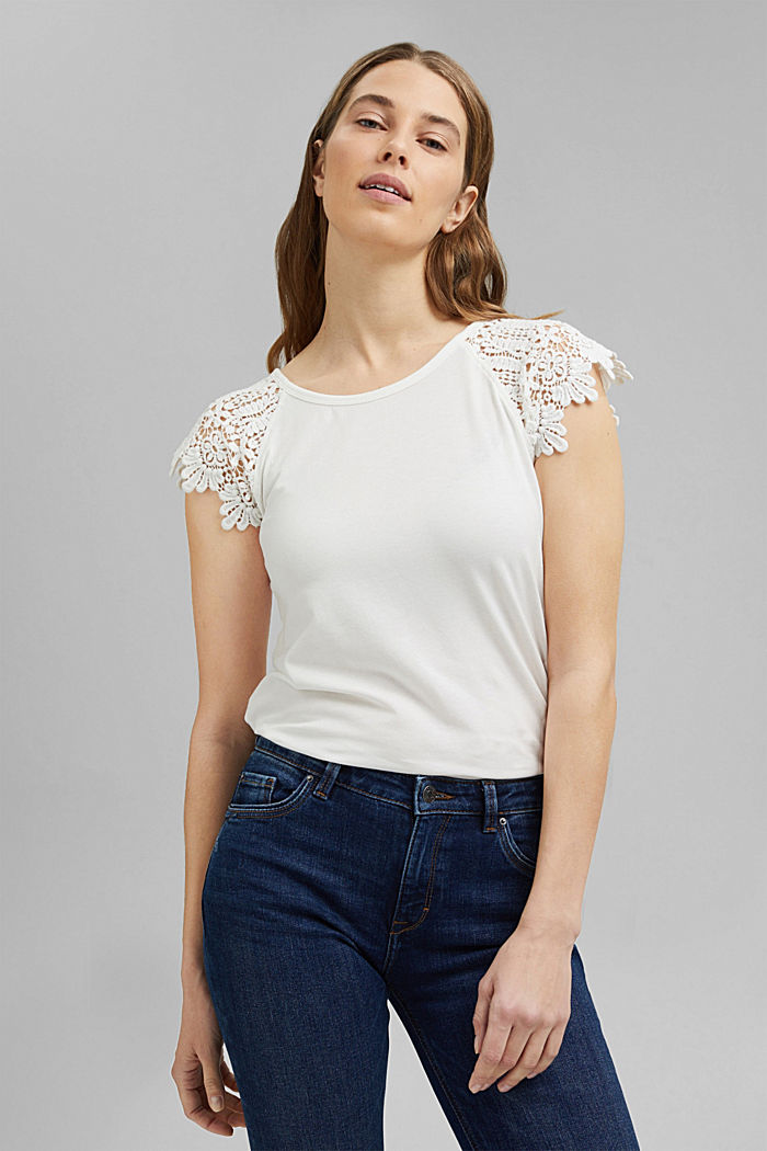 T-shirt with sleeves made of crocheted lace, OFF WHITE, detail image number 0
