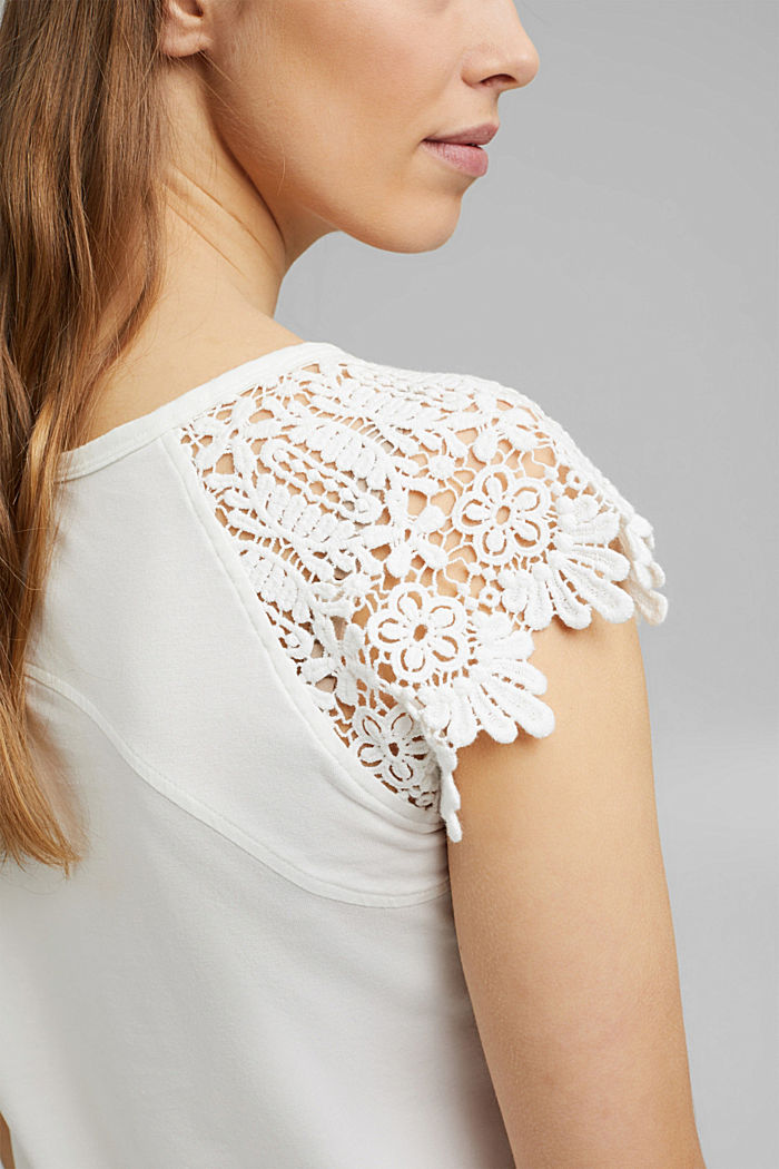 T-shirt with sleeves made of crocheted lace, OFF WHITE, detail image number 2