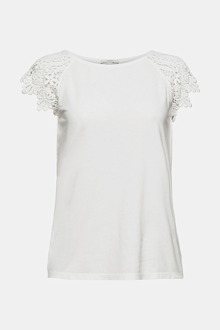T-shirt with sleeves made of crocheted lace, OFF WHITE, detail image number 6