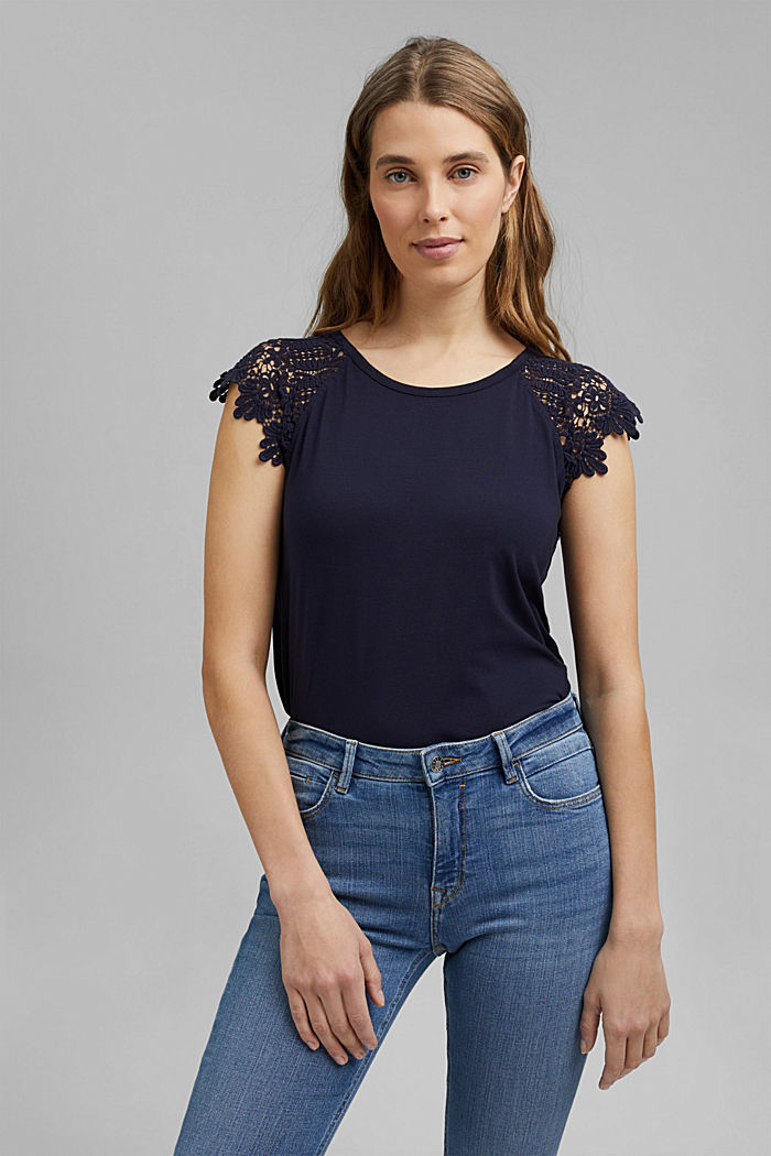 T-shirt with sleeves made of crocheted lace, NAVY, detail image number 0