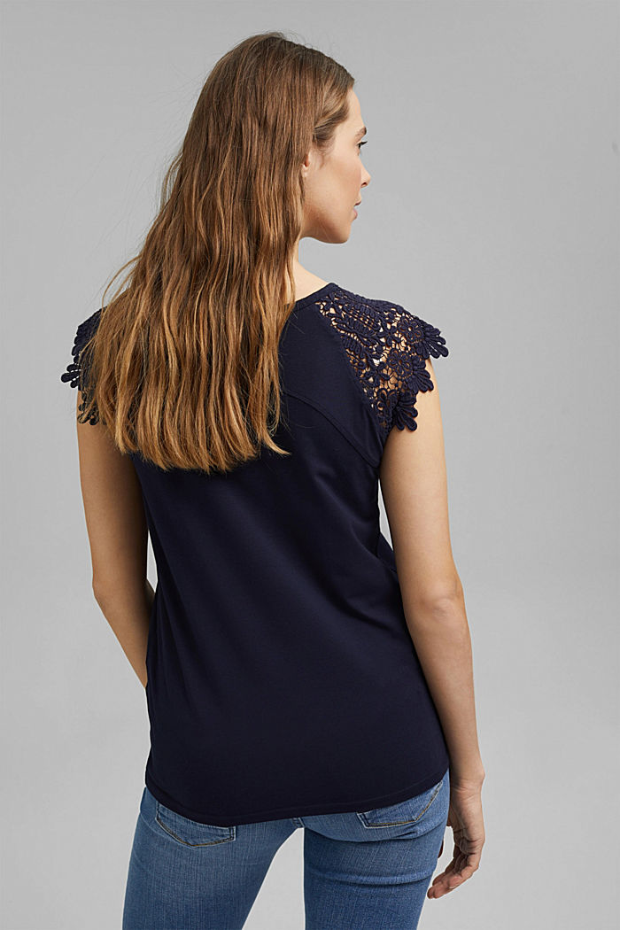 T-shirt with sleeves made of crocheted lace, NAVY, detail image number 3