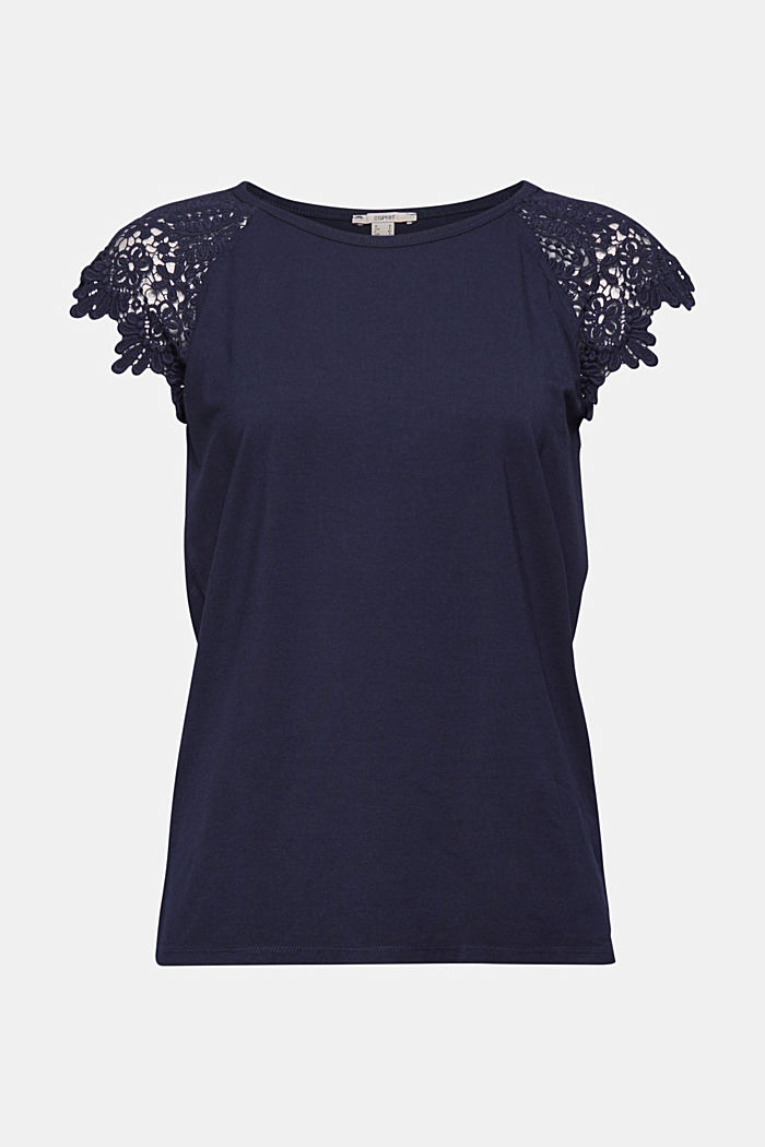 T-shirt with sleeves made of crocheted lace, NAVY, detail image number 6