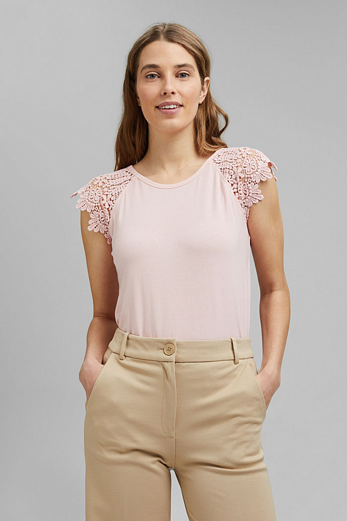 T-shirt with sleeves made of crocheted lace, NUDE, detail image number 0