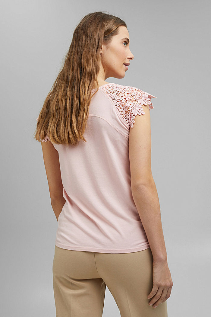 T-shirt with sleeves made of crocheted lace, NUDE, detail image number 3