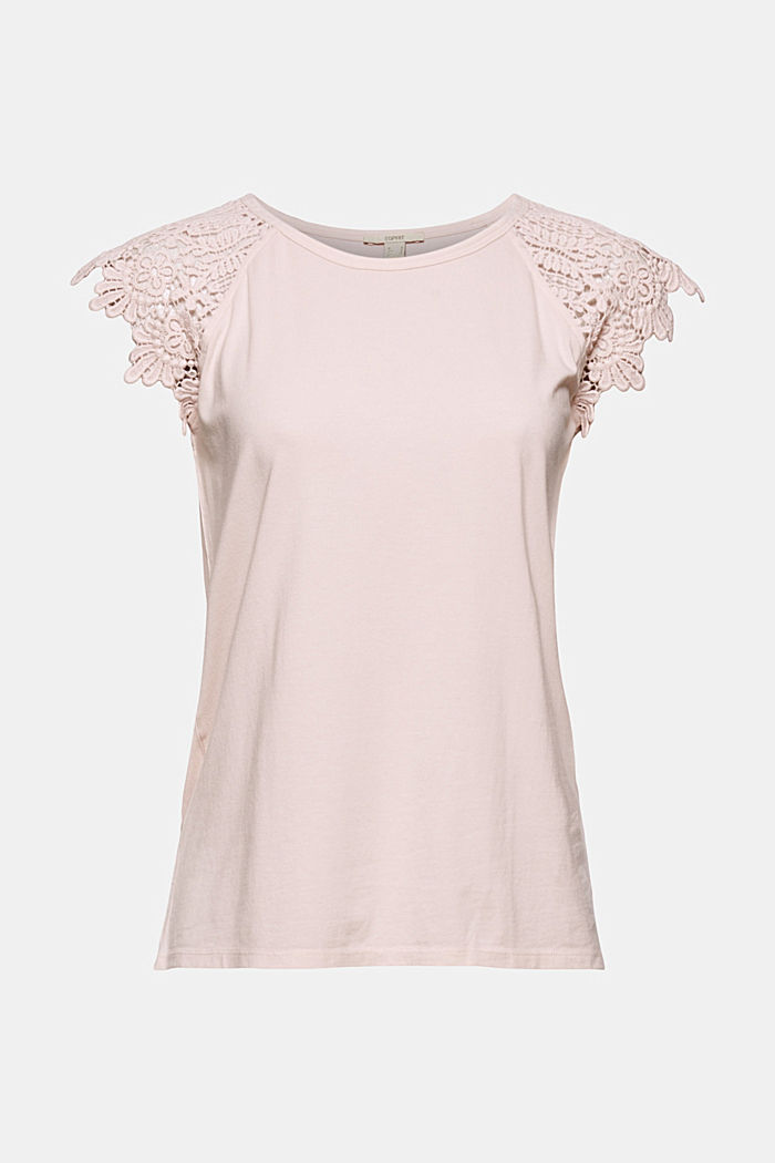 T-shirt with sleeves made of crocheted lace, NUDE, detail image number 6