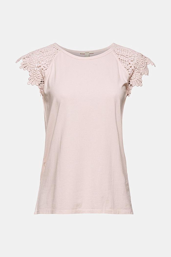 T-Shirt mit Ärmeln aus Häkelspitze, NUDE, detail image number 6