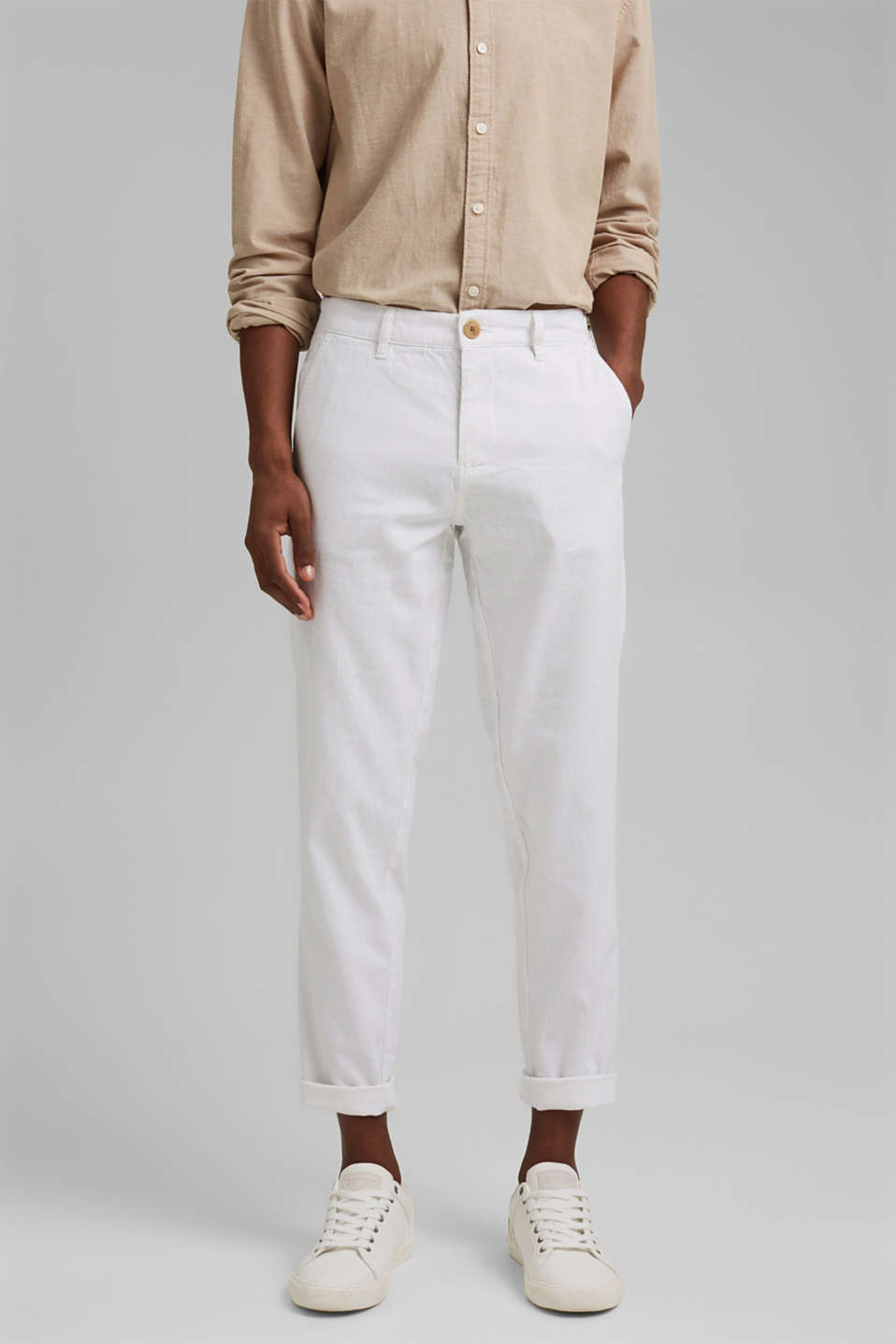 Esprit - Airy chinos made of blended linen