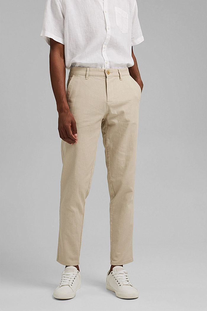 Airy chinos made of blended linen, LIGHT BEIGE, detail image number 0