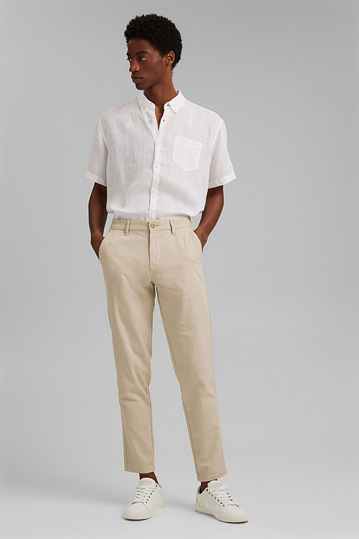 Airy chinos made of blended linen, LIGHT BEIGE, detail image number 1