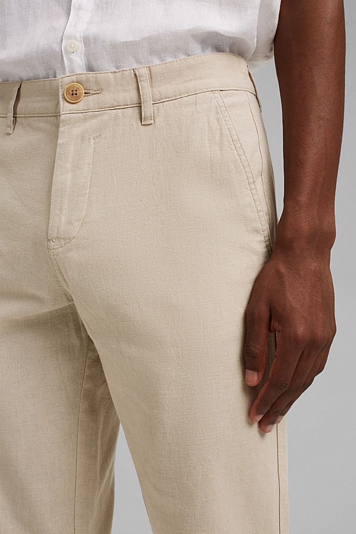 Airy chinos made of blended linen, LIGHT BEIGE, detail image number 2