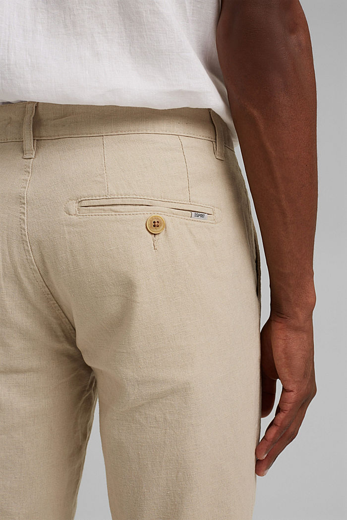 Airy chinos made of blended linen, LIGHT BEIGE, detail image number 5