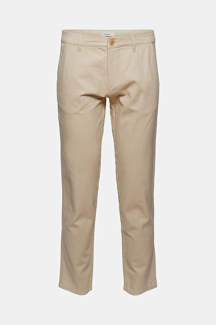 Airy chinos made of blended linen, LIGHT BEIGE, detail image number 7