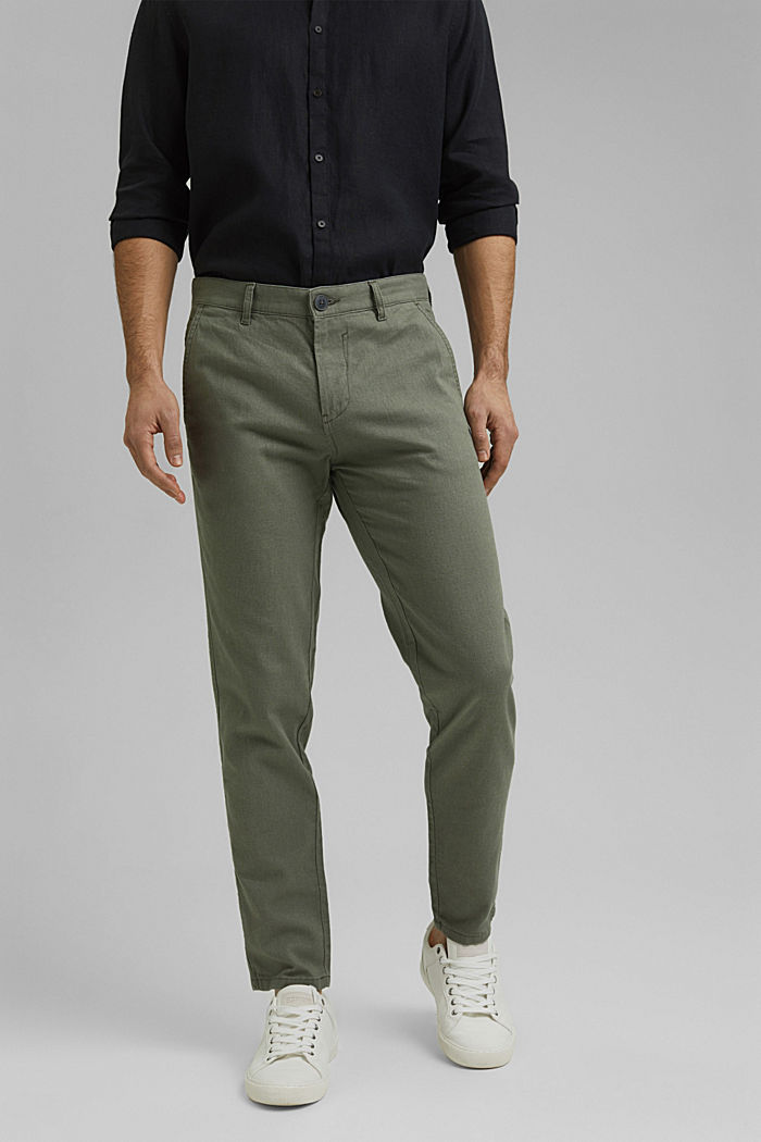 Leinenmix: Luftige Chino, DUSTY GREEN, detail image number 0