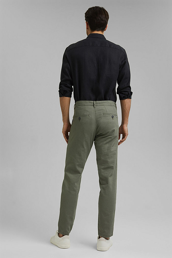 Leinenmix: Luftige Chino, DUSTY GREEN, detail image number 3
