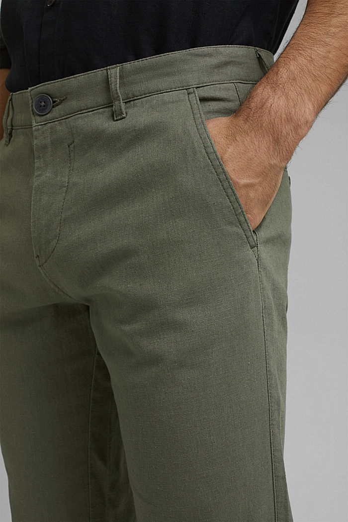 Leinenmix: Luftige Chino, DUSTY GREEN, detail image number 2