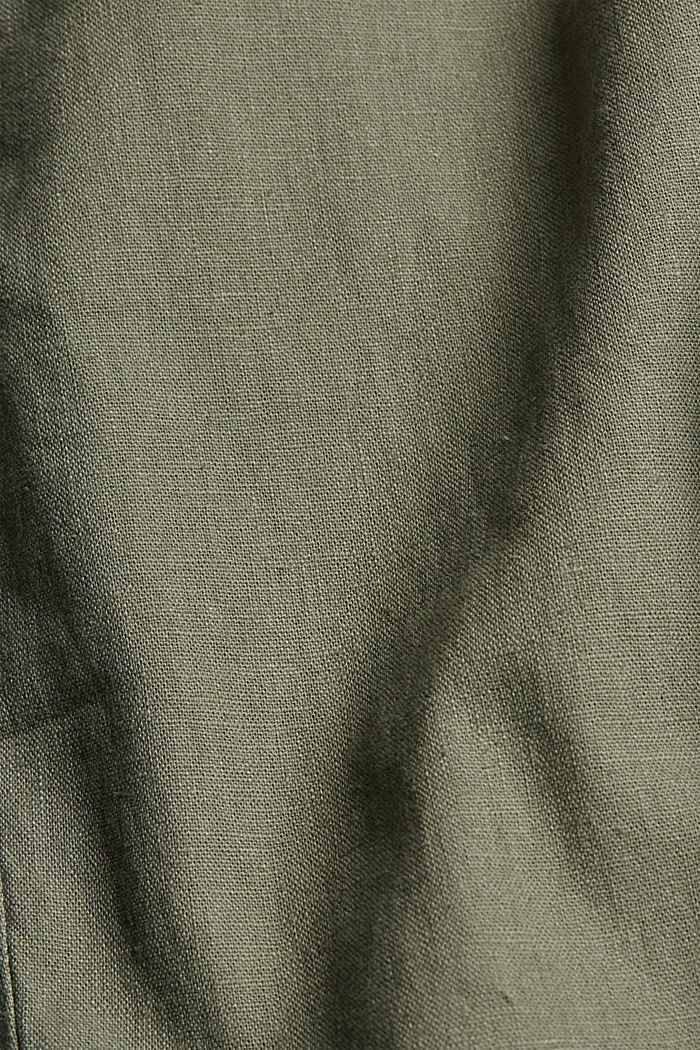 Leinenmix: Luftige Chino, DUSTY GREEN, detail image number 4